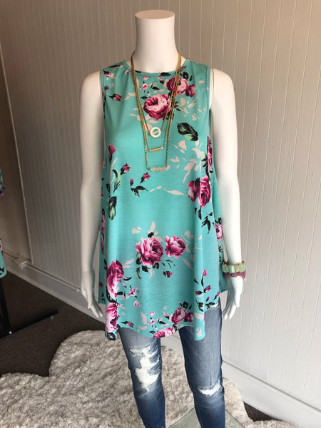 Turquoise Floral Tank