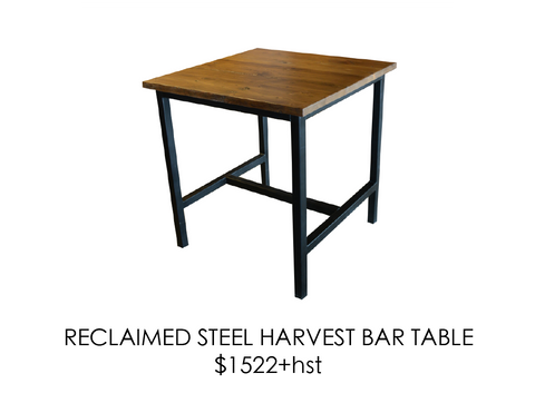 Reclaimed, bar table, urban, steel, rustic, home, wood, custom, eco friendly