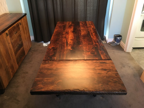 custom dining table with extension leaf made from reclaimed barn wood in kitchener waterloo