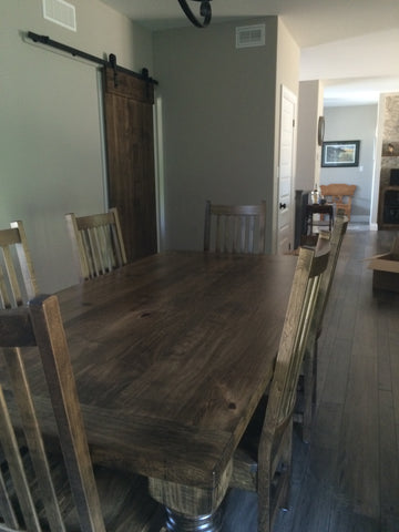 Spindle Wormy Maple Harvest Table & Wormy Maple Sliding Barn Door