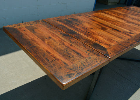Custom Urban Reclaimed Wood Dining Table with Extensions