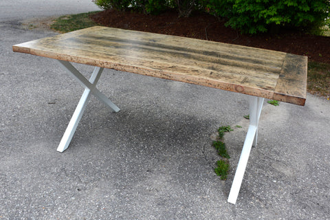 Urban Reclaimed Barn Wood Grey Wash X Base Dining Table