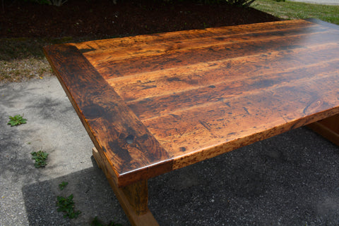 Custom Reclaimed Barn Wood Trestle Dining Table