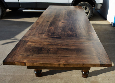 Charmant Custom Wormy Maple Spindle Harvest Table With Extensions