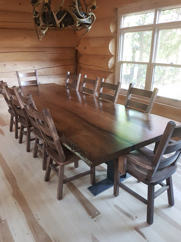 Reclaimed Live Edge Custom Maple Dining Table