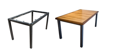 steel parson, welding, wood, dining table, urban
