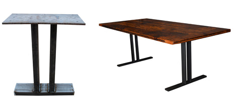 the t, steel, welding, table, reclaimed, black matte