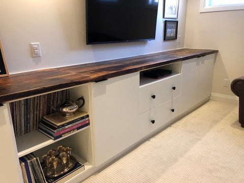 epoxy reclaimed, white custom cabinets, rustic, custom, wood, counter, hutch, bar, cabinetry