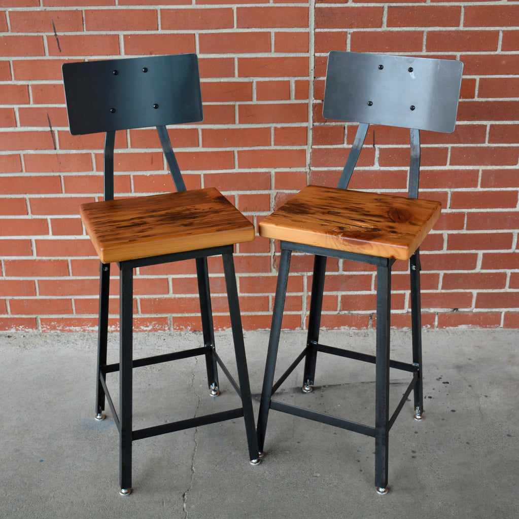 Industrial Bar Stools with Backrest made with steel metal and reclaimed barn wood