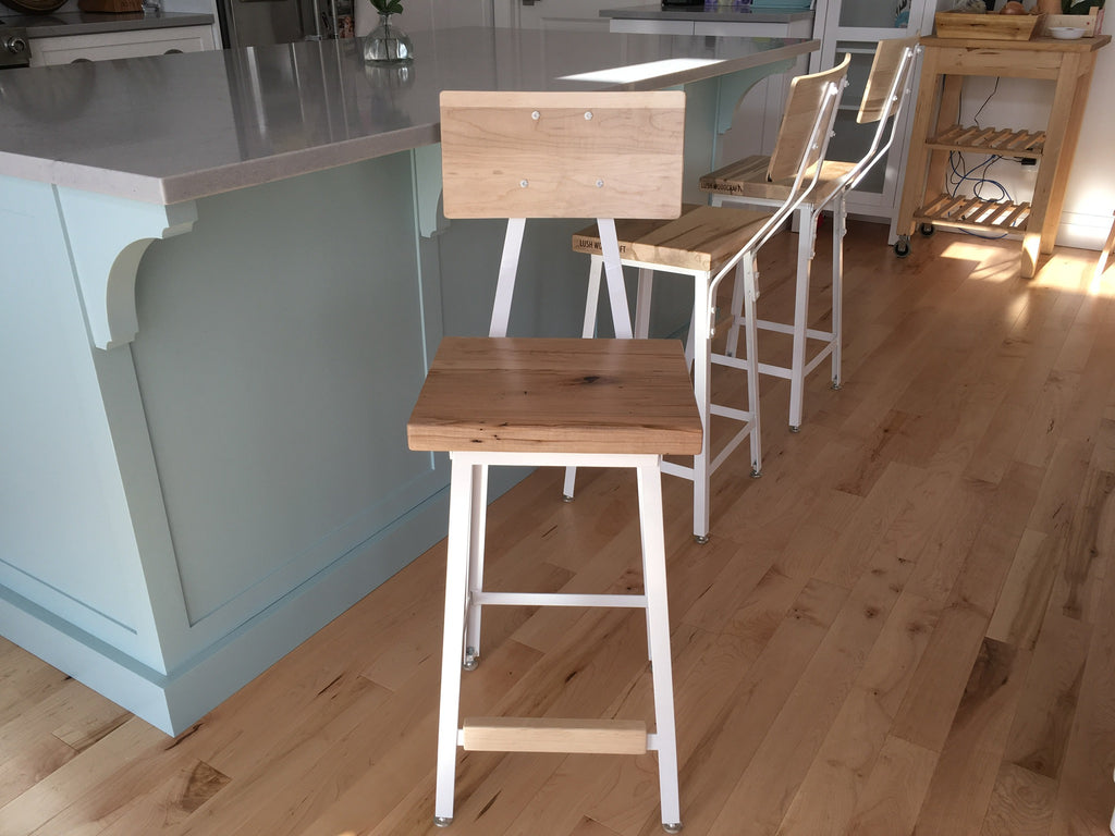 Industrial Bar Stool with Wood Backrest