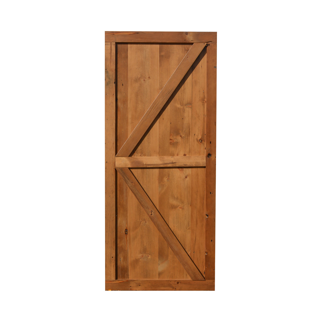 Solid custom made sliding barn doors out of reclaimed barn wood