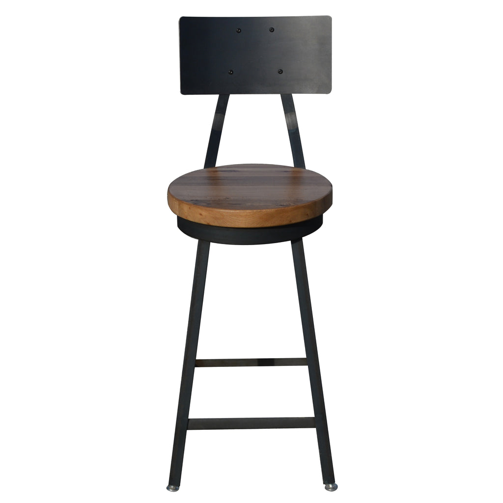 The industrial bar stool with back round next