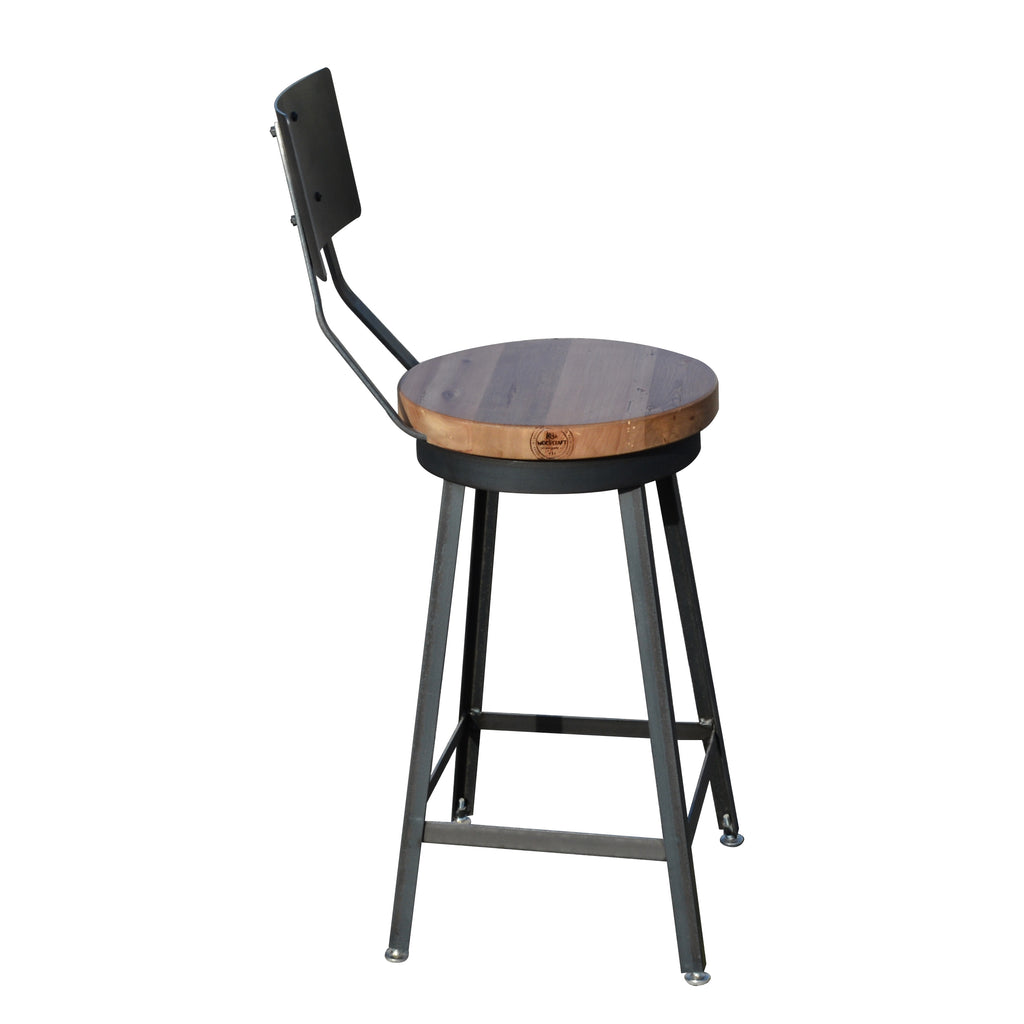 Custom Solid Industrial Metal/Steel Counter Bar Stools made with Reclaimed Barn Wood