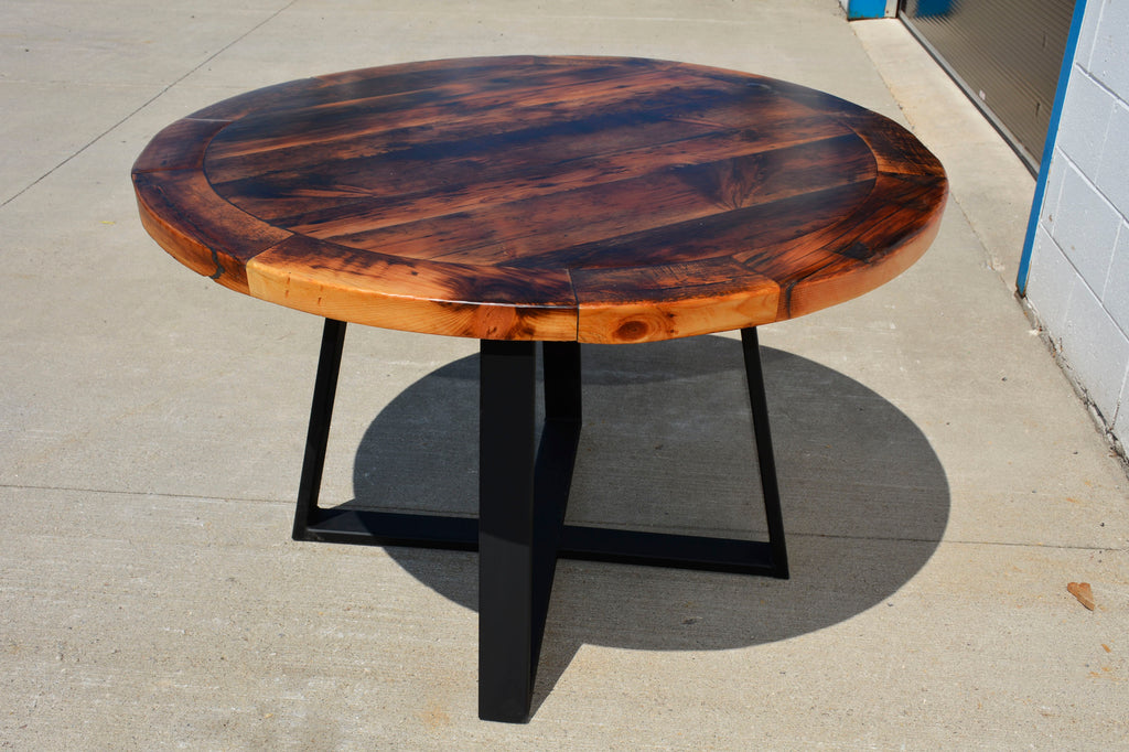 Custom Wood & Metal/Steel Round Dining Table made from Reclaimed Local Canadian Barn Wood & Live Edge, Walnut, Oak, Ash, Cherry & Maple Wood.