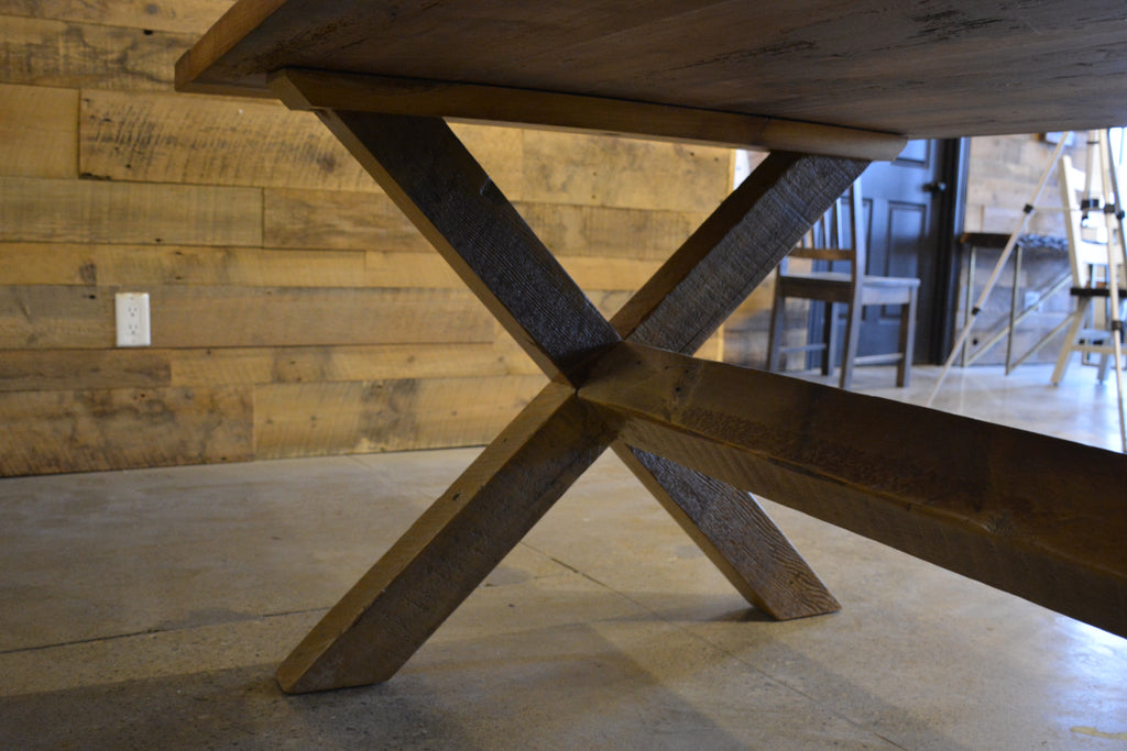 Custom Wood X Parson Harvest Base Dining Table made from Reclaimed Local Canadian Barn Wood & Live Edge, Walnut, Oak, Ash, Cherry & Maple Wood.