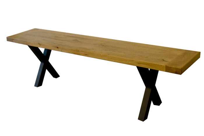 "Made of Reclaimed elm wood with matte urethane finish. Black matte steel base.  Dimensions: 66""L X 14""W"