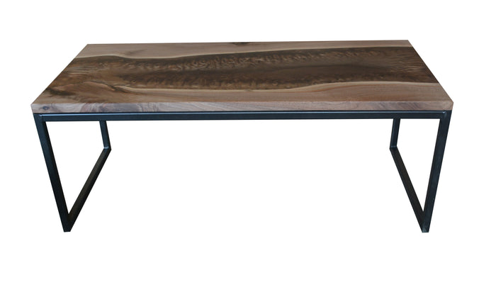 Made of black walnut wood with matte epoxy finish. Cooper pigments of epoxy. Industrial steel base with clear finish.