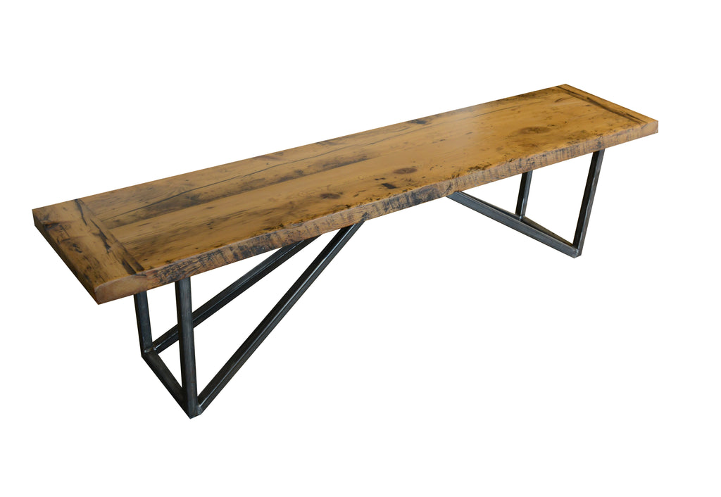 Made of reclaimed barn wood with a matte epoxy finish. Steel base with clear coat.