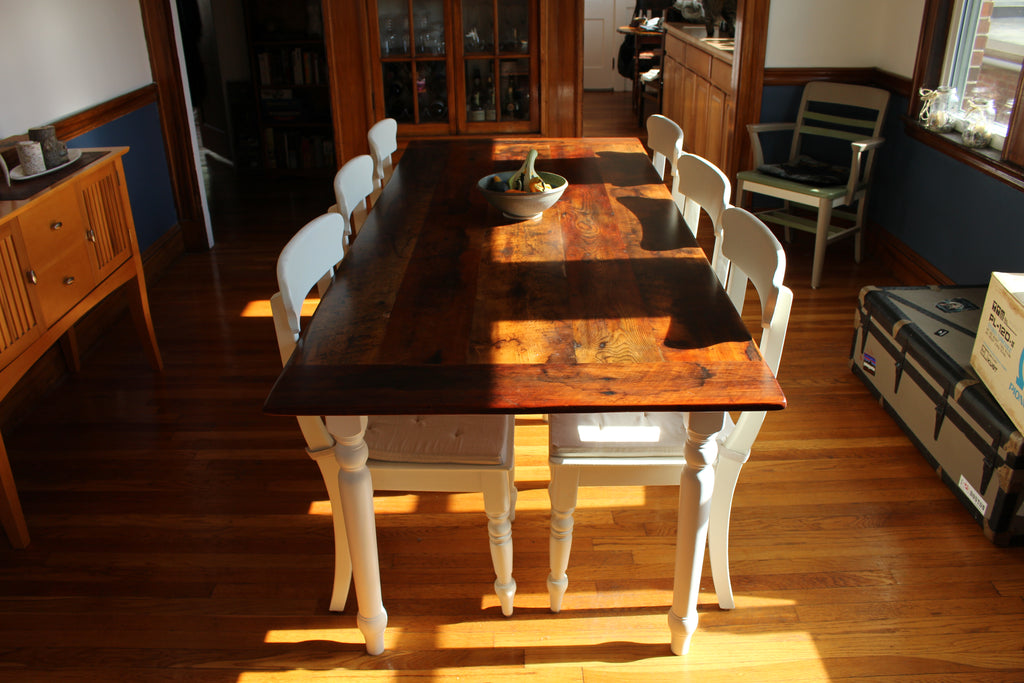 Custom Wood Spindle Harvest Base Dining Table made from Reclaimed Local Canadian Barn Wood & Live Edge, Walnut, Oak, Ash, Cherry & Maple Wood.