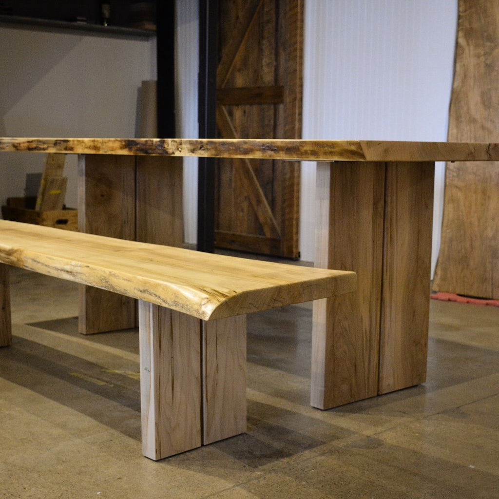 Custom live edge hard maple bench with wood base bridge plank