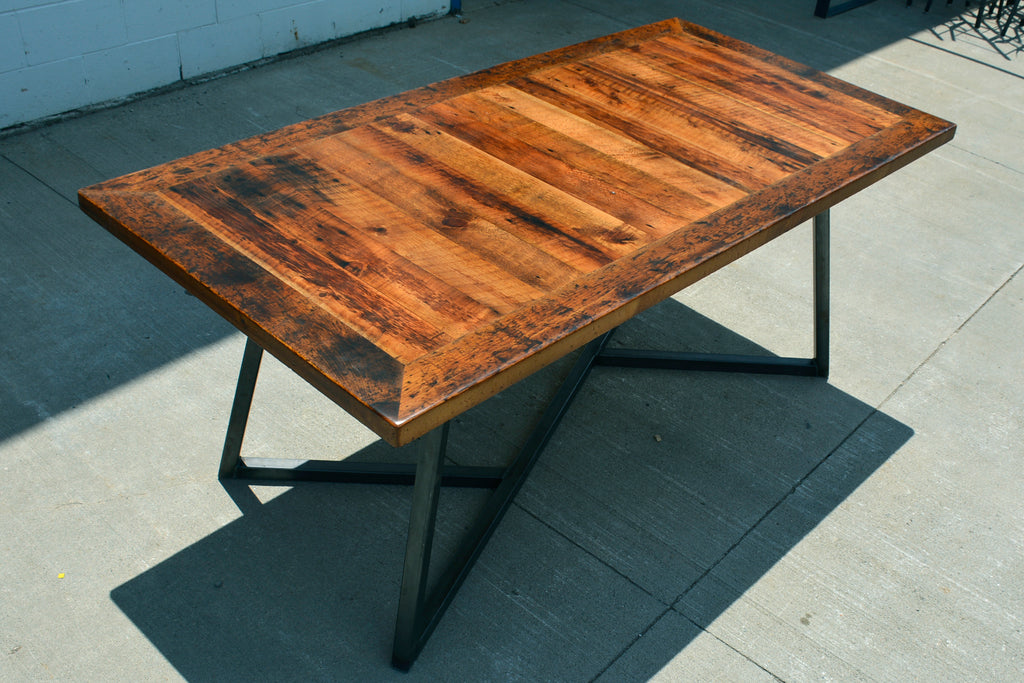 Custom Wood & Metal/Steel Base Dining Table made from Reclaimed Local Canadian Barn Wood & Live Edge, Walnut, Oak, Ash, Cherry & Maple Wood.