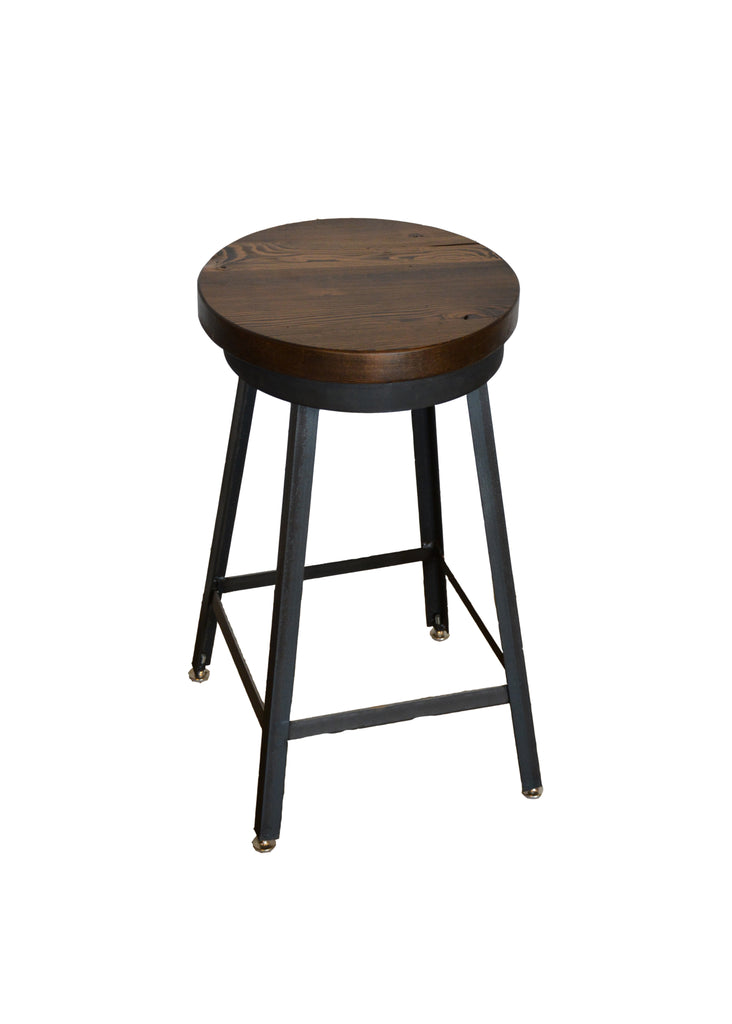 THE INDUSTRIAL BAR STOOL COLLECTION made of reclaimed barn wood and solid metal/steel. Available in table, counter & bar height.Our round bar stools can also swivel.