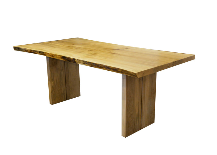 Custom live edge hard maple dining table with wood base bridge plank