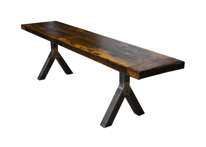 Custom made solid wood benches from reclaimed barn wood & live edge wood. We can custom make you a bench from wood or steel/metal. The wishbone bench