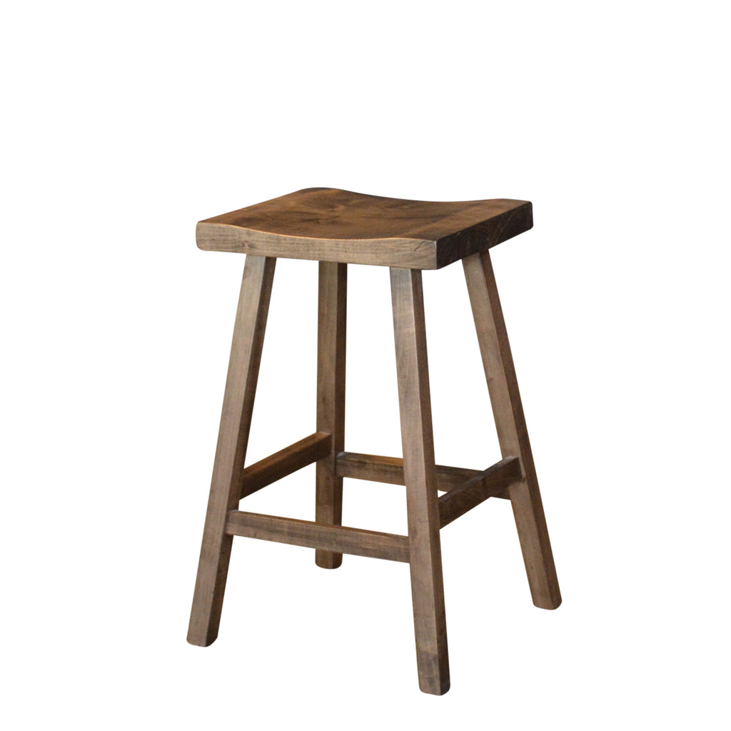The rustic bar stools are handcrafted out of local Canadian Wormy Maple wood. Designed with a slight curve on the seat, for comfort.