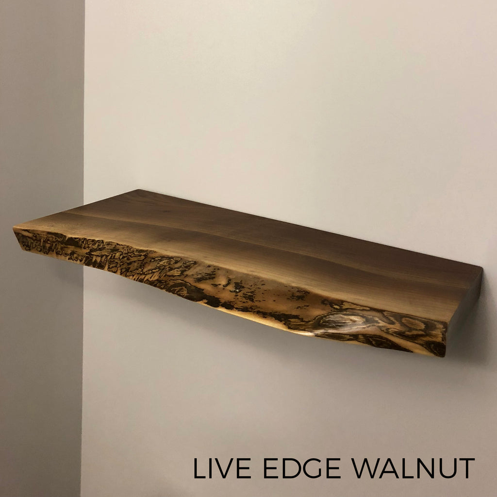 Live Edge Floating Shelf Shelves Custom Made from Reclaimed Barn Wood Walnut Maple Local Toronto Kitchener Waterloo Guelph Hamilton Burlington Niagara Oakville Mississauga Milton