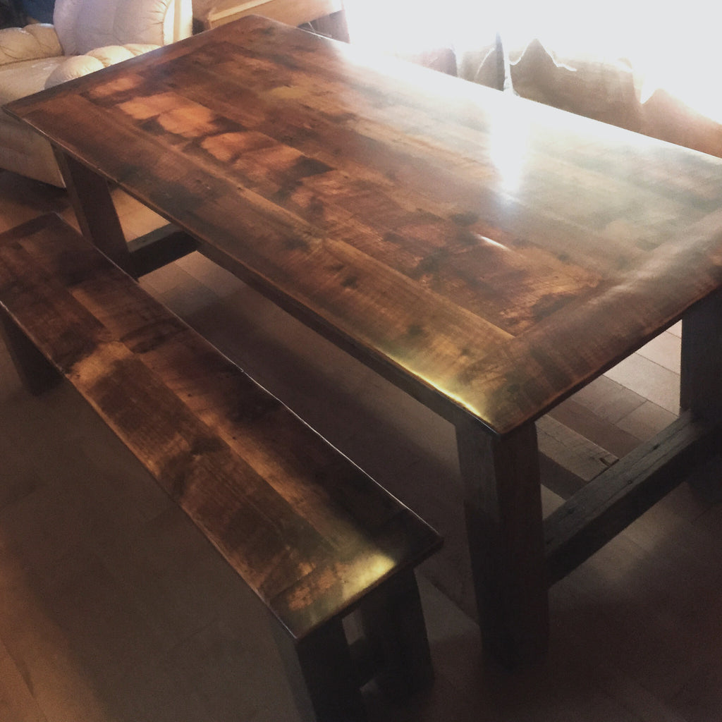 Custom Wood Parson Harvest Base Dining Table made from Reclaimed Local Canadian Barn Wood & Live Edge, Walnut, Oak, Ash, Cherry & Maple Wood.