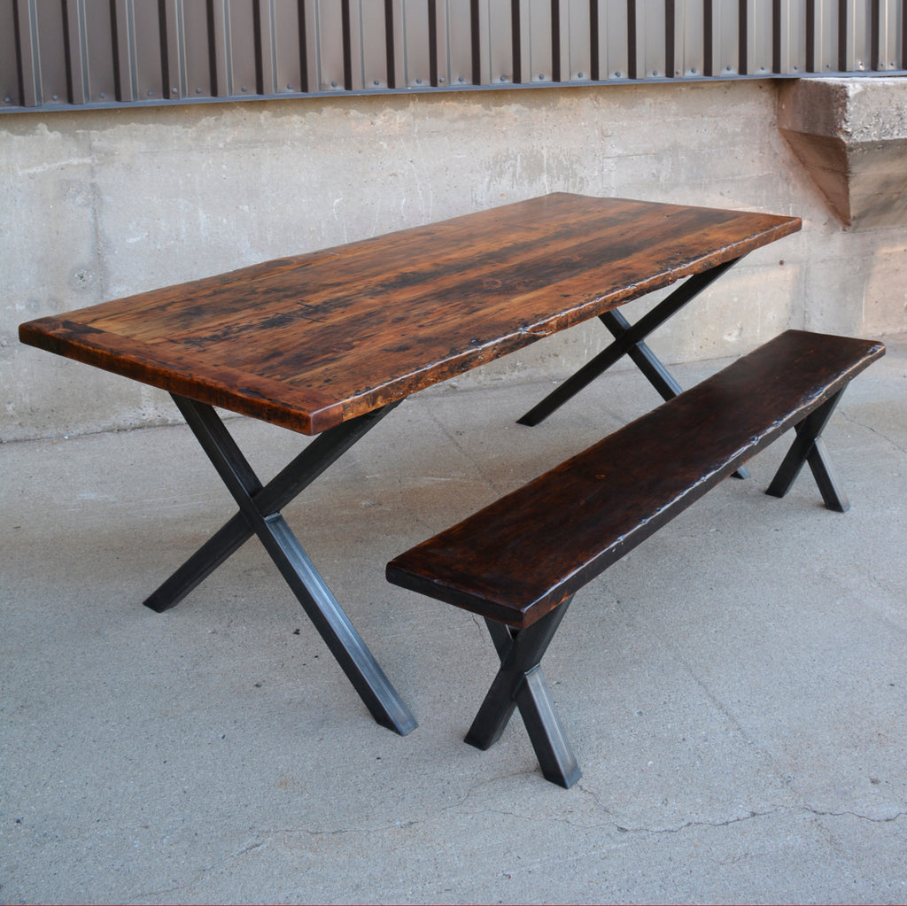 Custom made solid wood benches from reclaimed barn wood & live edge wood. We can custom make you a bench from wood or steel/metal.