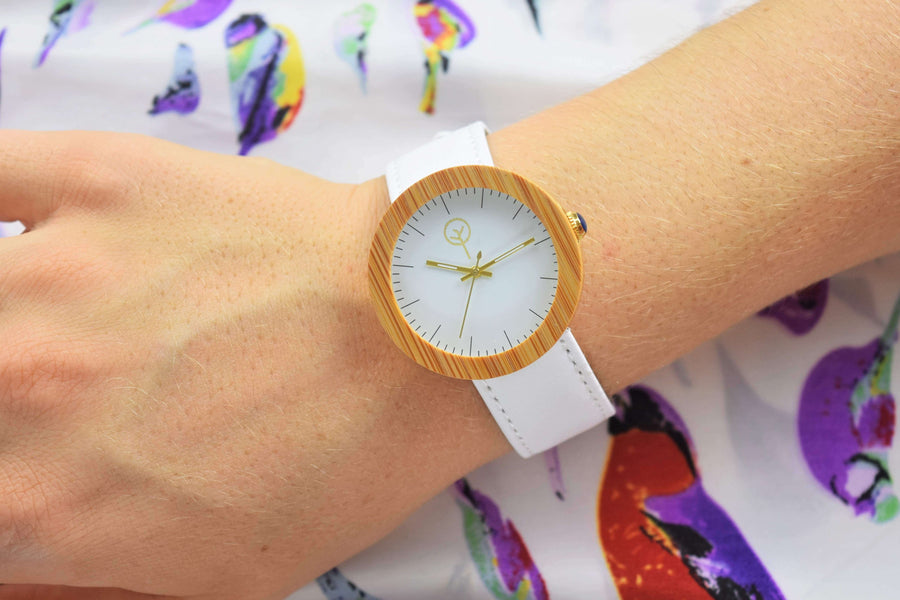 Vilo Womens Wooden Watch // Alabaster: