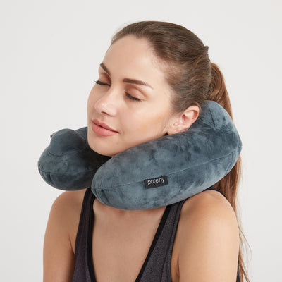 Purefly Soft Velvet Inflatable Travel Neck Pillow for Airplanes with Packsack