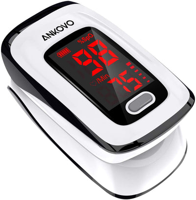 Pulse Oximeter Fingertip (Oximetro), Blood Oxygen Saturation Monitor, Heart Rate Monitor and SpO2 Levels, Portable Pulse Oximeter with Lanyard and Batteries