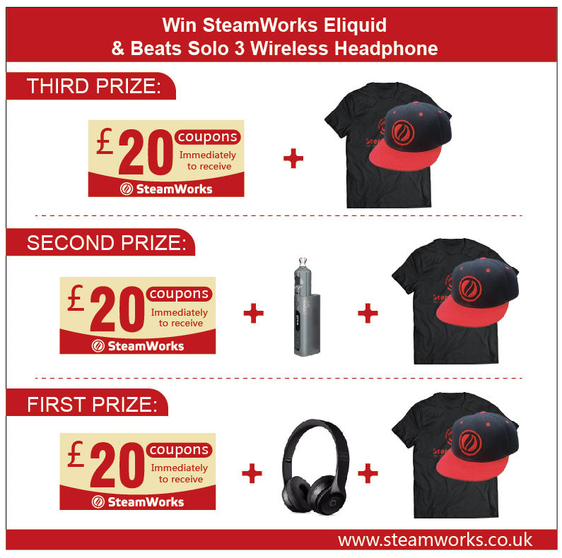 SteamWorks Giveaway: Win SteamWorks E-liquid & Beats Solo3 Wireless HeadPhone, ends at 1st Dec.
