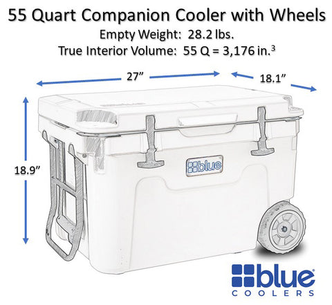 exterior of the 55 inch cooler with wheels
