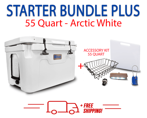 Blue Coolers 2.0 - 55 Quart Starter Bundle PLUS - Accessories