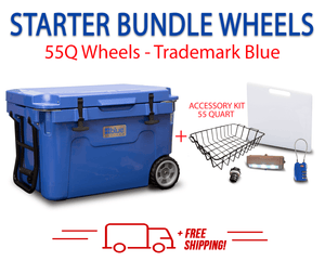 Blue Coolers 2.0 - 55 Quart Starter Bundle with WHEELS - Accessories