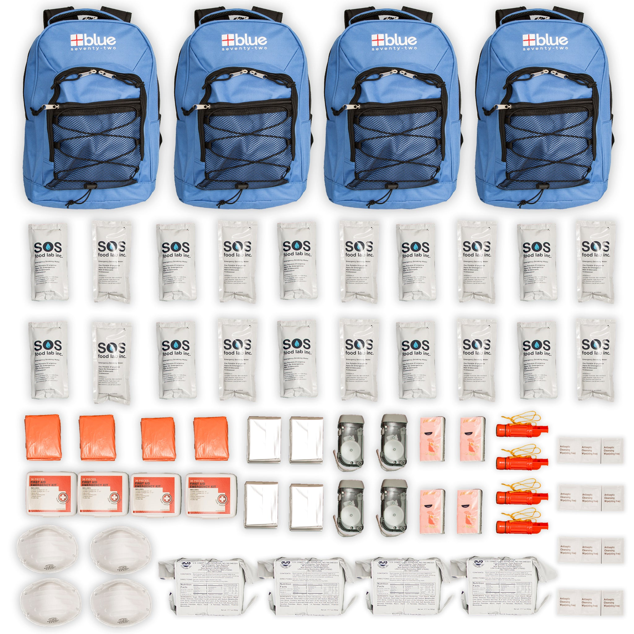 Blue Seventy-Two Family Pack - 4 x 3 Day Emergency Kits for 1 Person