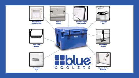 55 Quart Ice Vault Roto-Molded Cooler (w/ Wheels) - Blue Coolers
