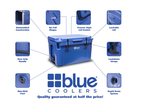 100 Quart Ark Series Roto-Molded Cooler - Blue Coolers