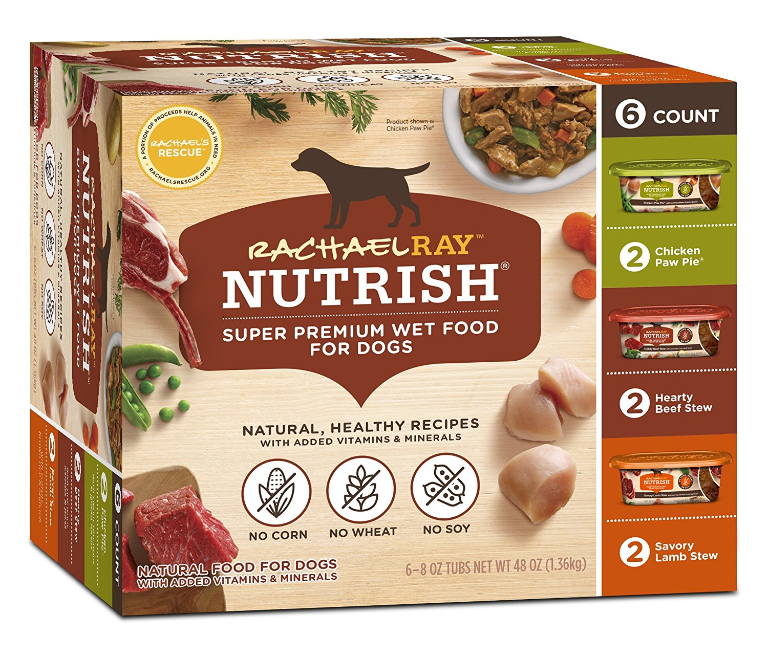 (AK, HI, PR Only) Rachael Ray Nutrish Natural Wet Dog Food Variety Pack (8 oz Pack of 6)