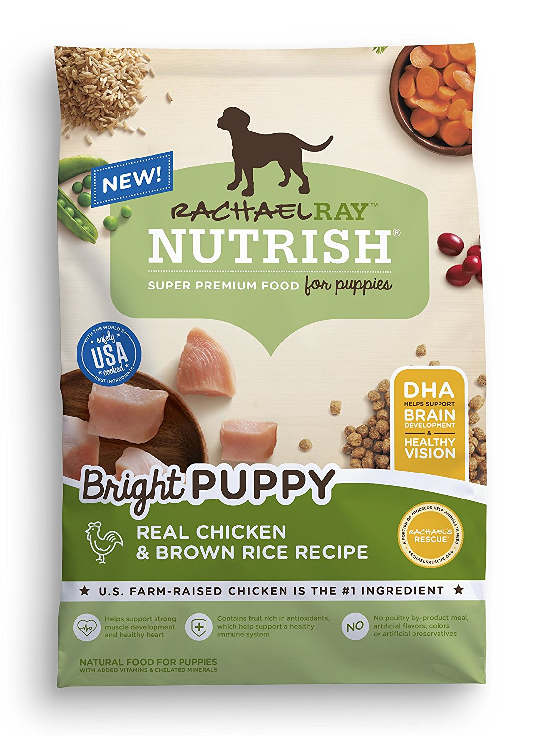 (AK, HI, PR Only) Rachael Ray Nutrish Bright Puppy Natural Dry Dog Food, Real Chicken & Brown Rice Recipe 14 lb