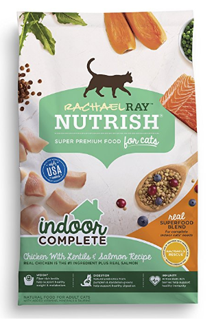 (AK, HI, PR Only) Rachael Ray Nutrish Indoor Complete Natural Dry Cat Food, Chicken with Lentils & Salmon Recipe (14 lbs)