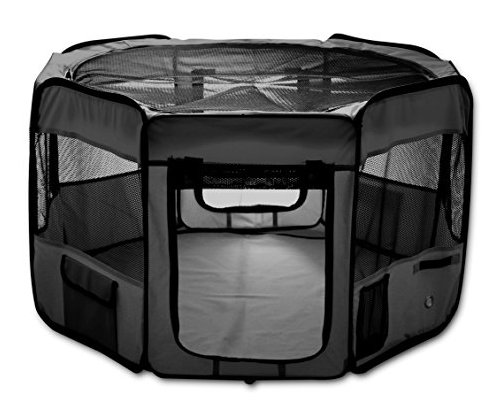 "(AK, HI, PR Only) SK COLLECTION Black 45"" Pet Puppy Dog Playpen Exercise Pen Kennel 600d Oxford Cloth"