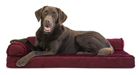 (AK, HI, PR Only) FurHaven Deluxe Orthopedic Chaise Couch Pet Bed for Cats and Dogs - Red