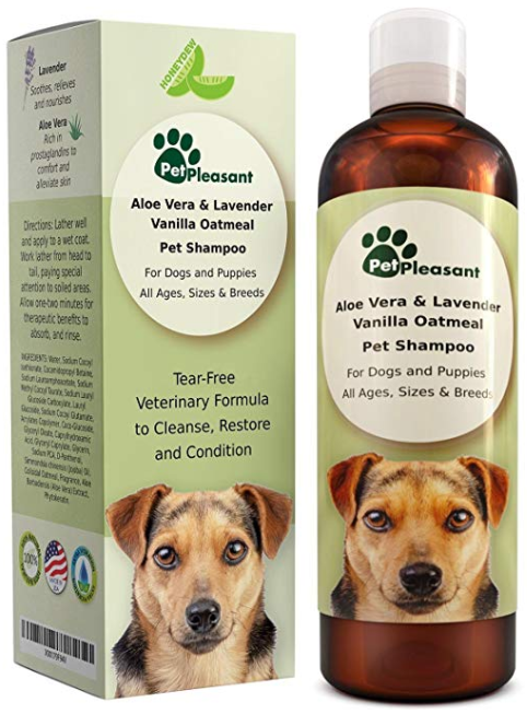 (AK, HI, PR Only) Vanilla Oatmeal Dog & Puppy Shampoo with Aloe Vera - Colloidal, Anti Itch, Natural Odor Eliminator, Anti Flea and Tick