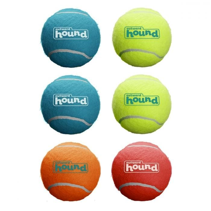 Multicolor Squeaky Tennis Balls - Pack of 6