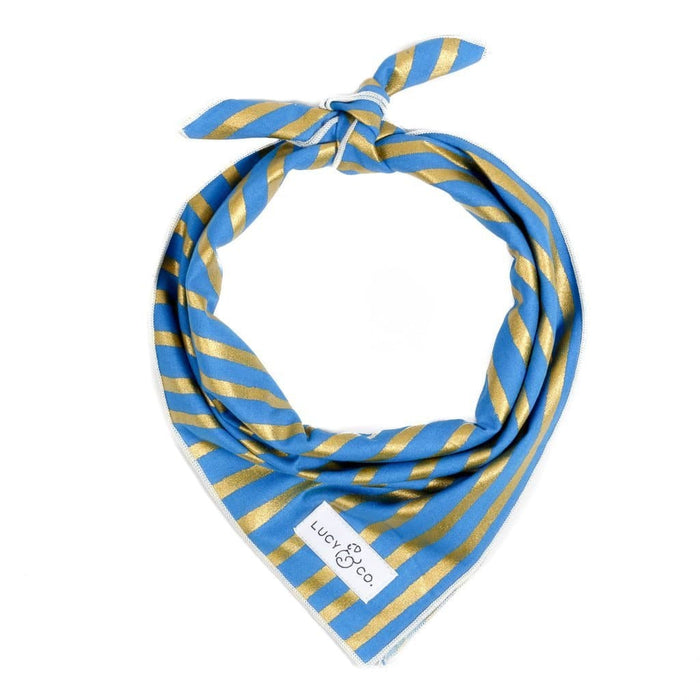 Blue + Gold Stripe Bandana - Hunter & June